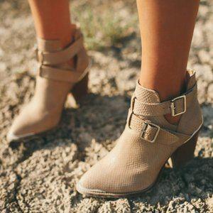 SHOEMINT Beige Snakeskin Pattern Western Boots